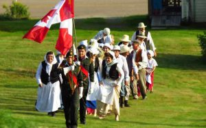 Re-enactment of Acadians arriving.