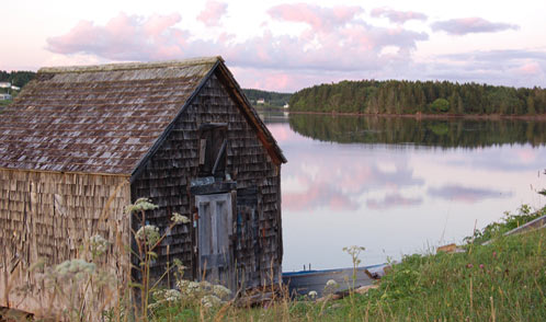 Boat Shed at sunset